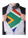 Business Man With South African Flag T-Shirt Print by  IJdema