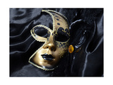 Gold A Carnival Mask With Black Feathers Prints by  voronin76