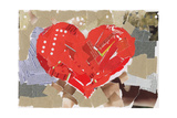 Heart Shape Collage Background, Made Of Magazines And Paper Clippings. Made Myself Reproduction giclée Premium par  donatas1205