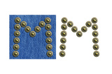 Jeans Rivet Alphabet Letter M. On Jeans Background And Isolated Prints by  donatas1205