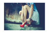 Woman Legs In Red High Heel Shoes And Short Skirt Outdoor Shot Against Old Metal Door Print by  coka