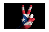 Puertorico National Flag Two Finger Up Gesture For Victory And Winner Symbol Made With Hand Posters by  vepar5