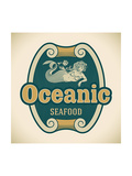Retro-Styled Seafood Label Including An Image Of Mermaid Posters by  Arty