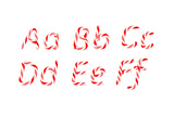 Candy Cane Font A - F Letters Prints by  Arsgera