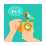 Digital Camera And Cartoon Bird Art by  venimo