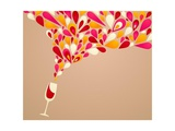 Funky Colorful Retro Wine Background Print by  Marish