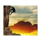 Girl Climbing On The Rock On Sunset Background Posters by Andrushko Galyna