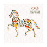 Chinese New Year Of The Horse Print by  cienpies