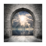 Way To New World. New Life Concept - Light Over Water Premium Giclee Print by  Kletr