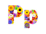 Flower Alphabet Isolated On White - Letter P Posters by  tr3gi