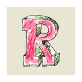 Crayon Alphabet, Hand Drawn Letter R Poster by Andriy Zholudyev