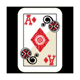 Hand Drawn Deck Of Cards, Doodle Ace Of Diamonds Premium Giclee Print by Andriy Zholudyev