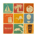 Set Of Vintage Travel Labels Prints by  elfivetrov