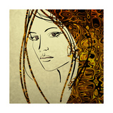 Art Colorful Sketching Beautiful Girl Face With Golden Hair On White Background Giclée-Premiumdruck von Irina QQQ