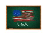 Usa Flag On Green Chalkboard Poster by igor stevanovic