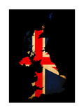 Uk Grunge Map Outline Flag Insert Prints by  Veneratio