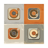 Retro Record Player Icons Print by  YasnaTen