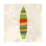 Vintage Multicolor Surfboard Art by  cienpies