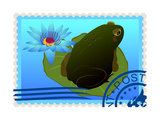 Postage Stamp With A Frog Prints by  GUARDING-OWO