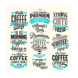 Set Of Vintage Retro Coffee Labels Prints by  Melindula