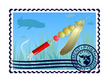 Postage Stamp. Fishing Tackle Print by  GUARDING-OWO