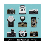 Set Of Vintage Cameras Background Print by  Melindula