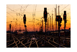 Railroad Tracks At Sunset Art by Patrick Poendl