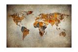 Grunge Karte von der Welt Kunstdruck von  javarman
