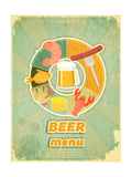Retro Cover Menu For Beer Plakater af  elfivetrov