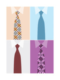 Shirt And Necktie In Four Version Prints by Elizabeta Lexa