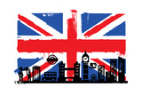 Uk Flag And Silhouettes Prints by  bioraven