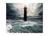 Stormy Sky Over Flooded Lighthouse Art by NejroN Photo