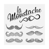 Hand Drawn Black Mustache Set Prints by  Melindula