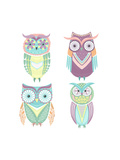 Set Of Cute Colorful Owls Posters by cherry blossom girl