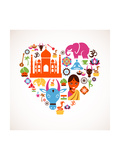Heart With India Icons Print by  Marish