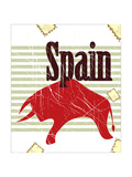Spanish Bull On Grungy Background Posters by  elfivetrov