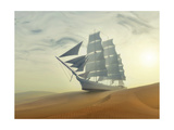 Sailing Ship In Desert Poster by  Mike_Kiev