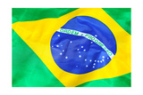 Waving Fabric Flag Of Brazil Prints by  leungchopan