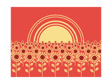 Sunflowers Landscape Background Prints by  GeraKTV
