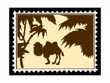 Silhouette Camel On Postage Stamps Print by  basel101658