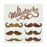 Hand Drawn Brown Mustache Set Posters by  Melindula