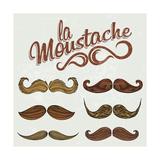 Hand Drawn Brown Mustache Set Premium Giclee Print by  Melindula