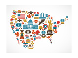 America Map With Many Icons Art by  Marish