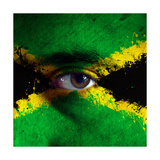 Jamaican Flag On Face Prints by igor stevanovic
