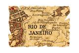 Rio De Janeiro Old Map Art by  Pontuse