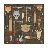 Seamless Pattern Of Indian Hunting Plakater af destra