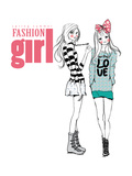 Fashion Illustration Girls Print by  studiohome