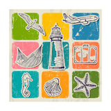 Vintage Set Of Sea Travel Icons Reprodukcje autor yunna