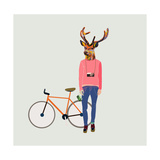 Fashionable Hipster Deer Prints by  run4it