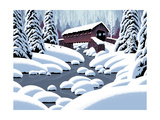Covered Bridge In Winter Prints by  Designwest